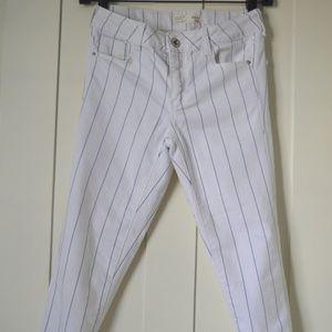 white striped skinny jeans